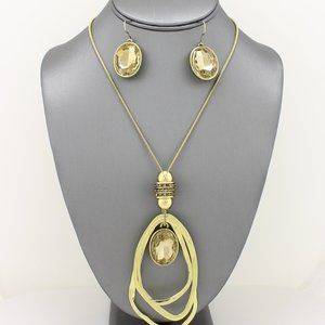 Gold Brush w/Brown Oblong Pendant Necklace Set